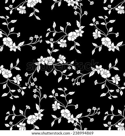 Lined of flower vine on black background. - stock vector