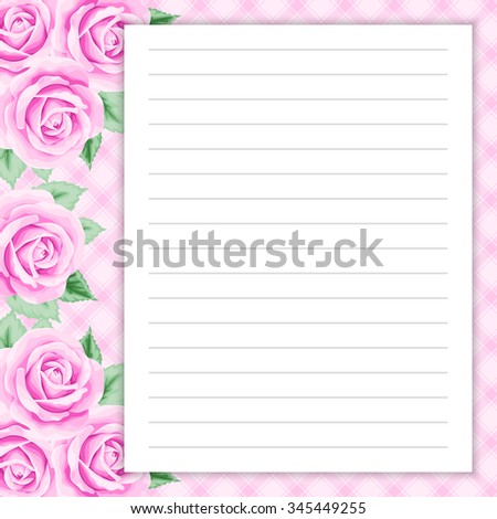 Lined Page Notes Design Retro Style Stock Vector 345462857