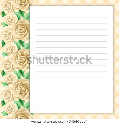 Lined Page For Notes Design In Retro Style. Floral Background. Template For  Scrapbooking,  Lined Page Template