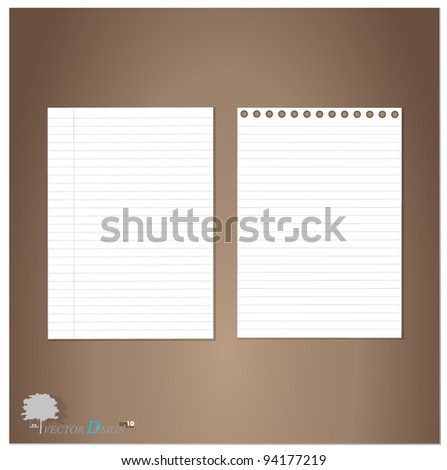 Lined paper and Note Paper.  Vector Illustration. - stock vector