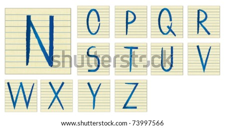 alphabet on lined paper