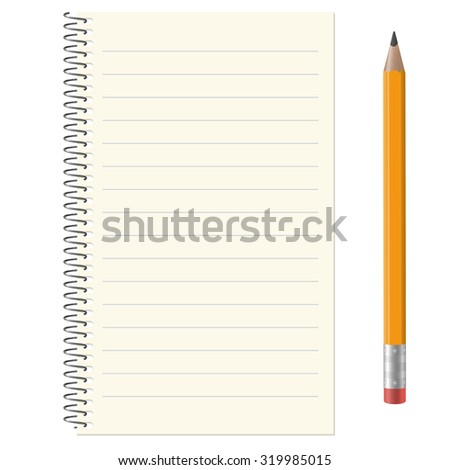 lined paper pad with copy space and yellow pencil - stock vector