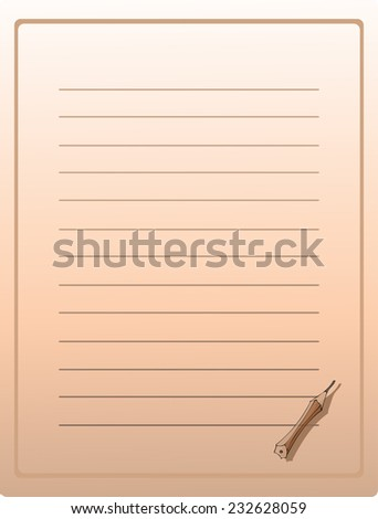 Lined Paper with a little Pencil Emblem in the bottom of the Page, Vector Illustration. The Pencil is removable being on a separated Layer.  - stock vector