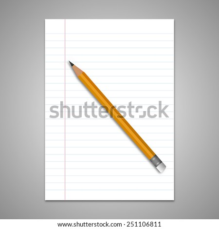Lined paper with pencil vector - stock vector