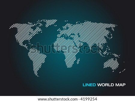 Lined World Map - stock vector