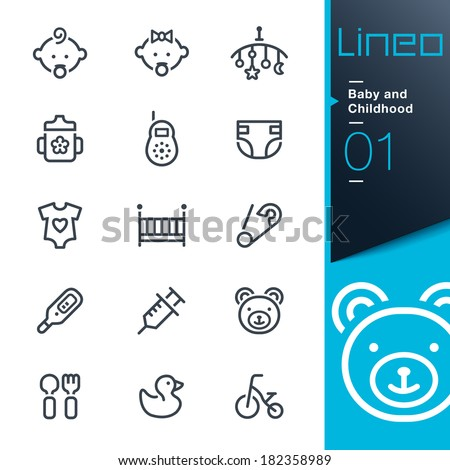 Lineo - Baby and Childhood outline icons - stock vector
