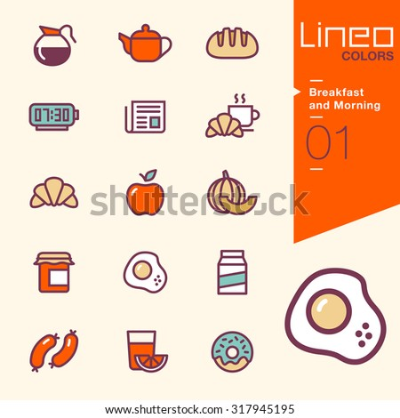 Lineo Colors - Breakfast and Morning icons,  - stock vector