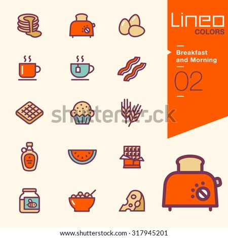 Lineo Colors - Breakfast and Morning icons - stock vector