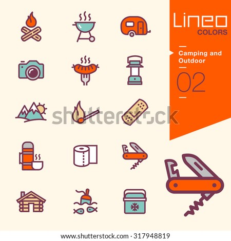 Lineo Colors - Camping and Outdoor icons - stock vector
