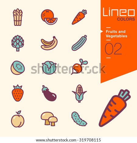 Lineo Colors - Fruits and Vegetables icons - stock vector