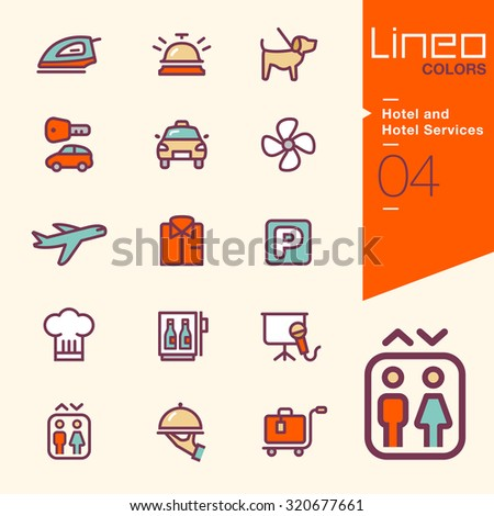 Lineo Colors - Hotel and Hotel Services icons - stock vector