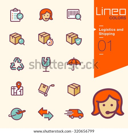 Lineo Colors - Logistics and Shipping icons - stock vector