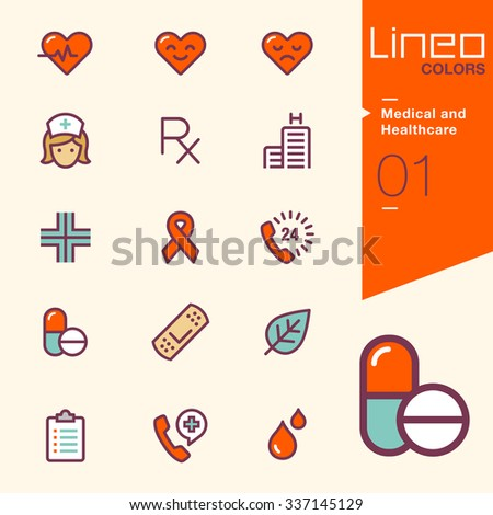 Lineo Colors - Medical and Health care icons - stock vector