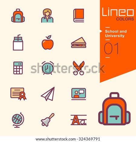 Lineo Colors - School and University icons - stock vector