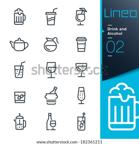 Lineo - Drink and Alcohol outline icons - stock vector