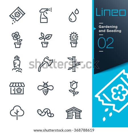 Lineo - Gardening and Seeding line icons - stock vector