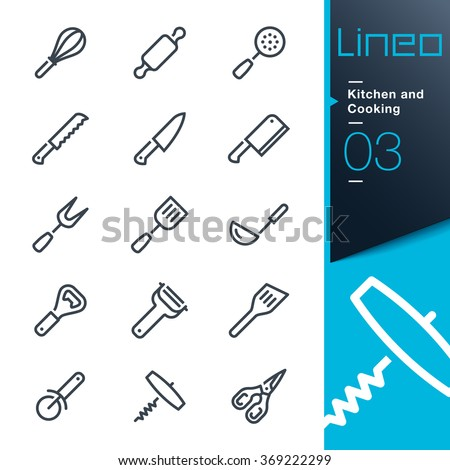 Lineo - Kitchen and Cooking line icons - stock vector