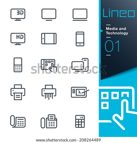 Lineo - Media and Technology outline icons - stock vector