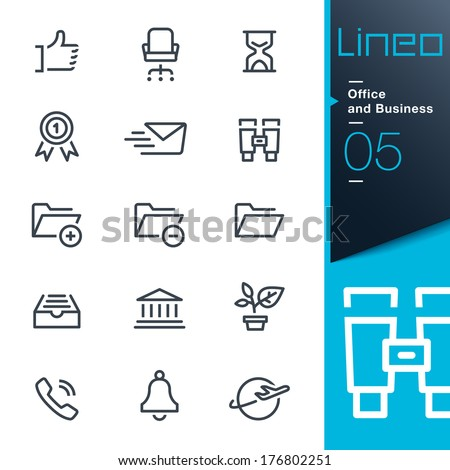 Lineo - Office and Business outline icons - stock vector