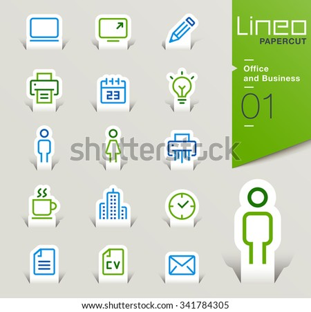 Lineo Papercut - Office and Business outline icons - stock vector