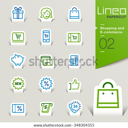 Lineo Papercut - Shopping and E-commerce outline icons - stock vector
