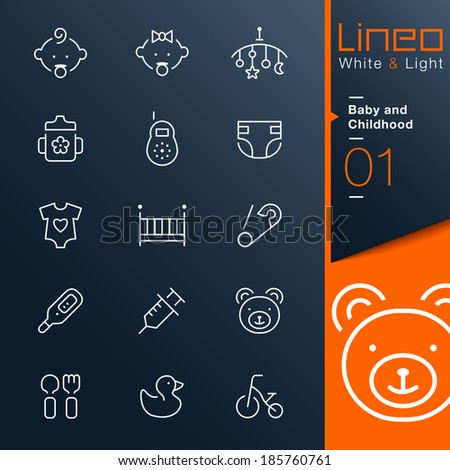 Lineo White & Light - Baby and Childhood outline icons - stock vector