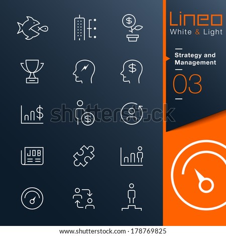 Lineo White & Light - Strategy and Management outline icons - stock vector