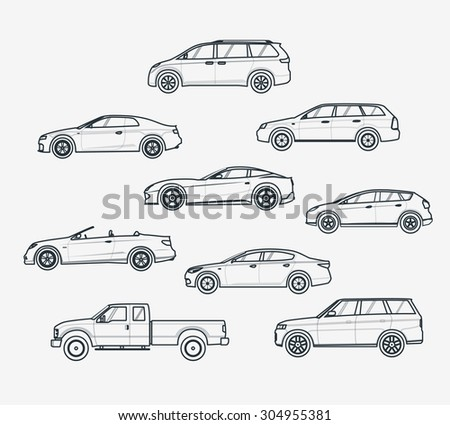 Liner icons set of cars types. Sedan and minivan, hatchback and coupe. Car sale concept. Thin line style. - stock vector