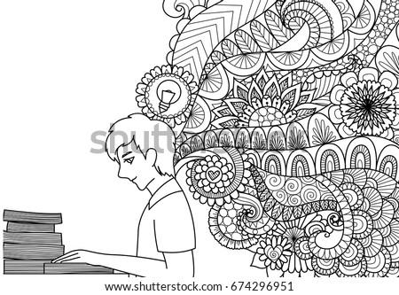 Lines Art Design Man Reading Books Stock Vector (2018) 674296951 ...