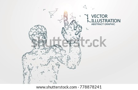 Lines connected to people, symbolizing the meaning of artificial intelligence, vector illustration.