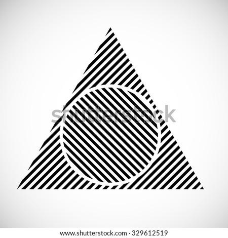 Lines Design . Vector Striped Triangle Background . Triangle Background . Abstract Triangle Geometrical Background . Modern Geometrical Triangle Logo Design Template . - stock vector