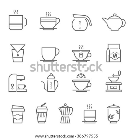 Lines icon set - coffee and tea - stock vector