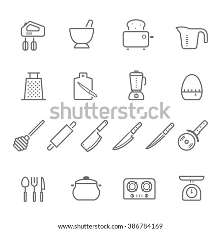 Lines icon set - kitchenware - stock vector