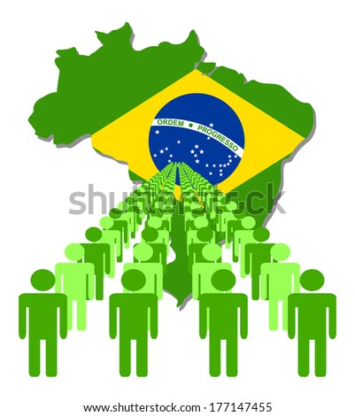 Lines of people with Brazil map flag vector illustration - stock vector