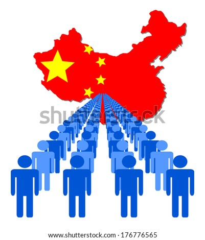 Lines of people with China map flag vector illustration - stock vector