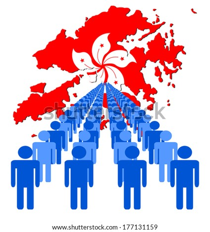 Lines of people with Hong Kong map flag vector illustration - stock vector