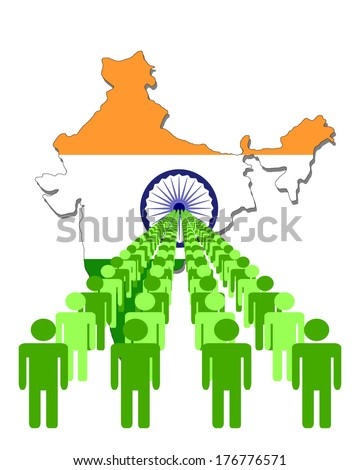 Lines of people with India map flag vector illustration - stock vector