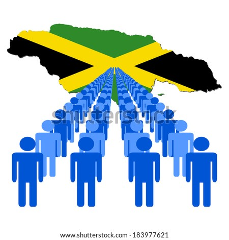 Lines of people with Jamaica map flag vector illustration - stock vector
