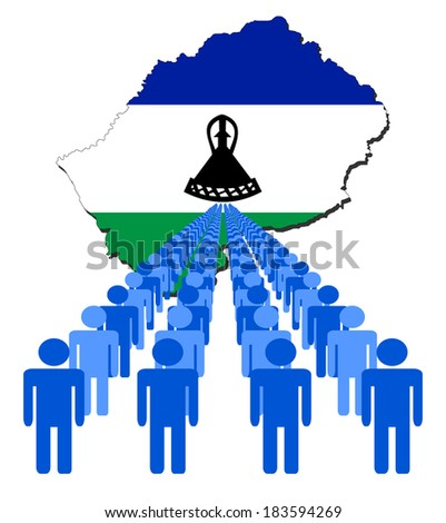 Lines of people with Lesotho map flag vector illustration - stock vector