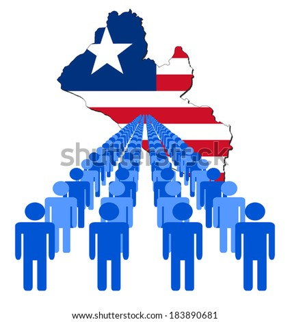 Lines of people with Liberia map flag vector illustration - stock vector