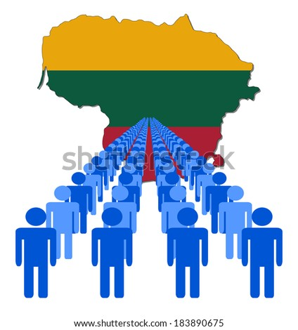 Lines of people with Lithuania map flag vector illustration - stock vector