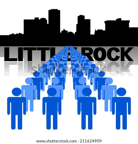 Lines of people with Little Rock skyline vector illustration