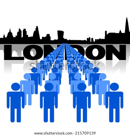 Lines of people with London skyline vector illustration - stock vector
