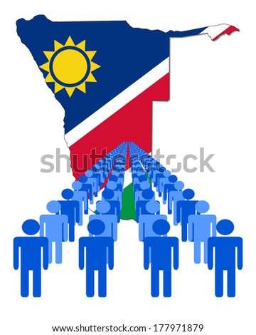 Lines of people with Namibia map flag vector illustration - stock vector