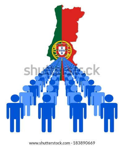 Lines of people with Portugal map flag vector illustration - stock vector