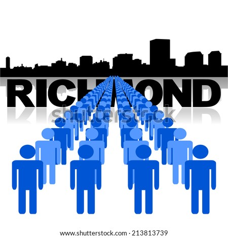 Lines of people with Richmond skyline vector illustration - stock vector