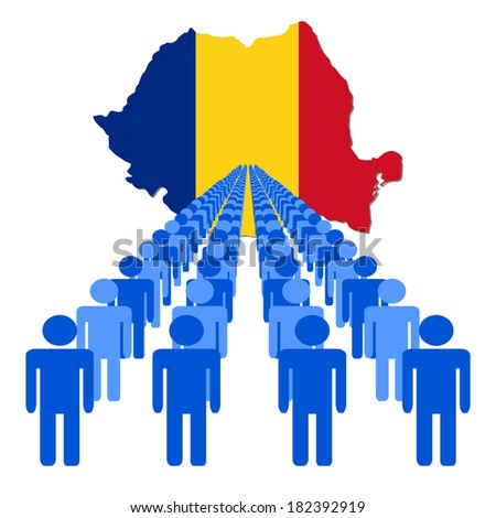 Lines of people with Romania map flag vector illustration - stock vector