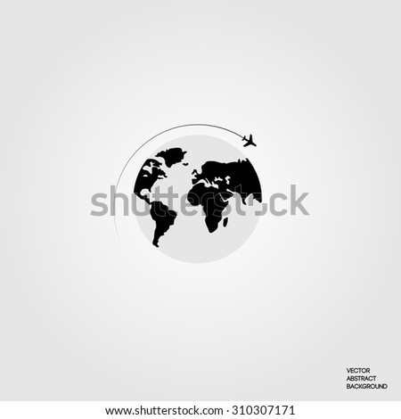 Lines. Silhouette airplane.  Roundabout Circulation. Flight around the world. Earth. Map of the ground. Airplane and globe.  Vector illustration - stock vector