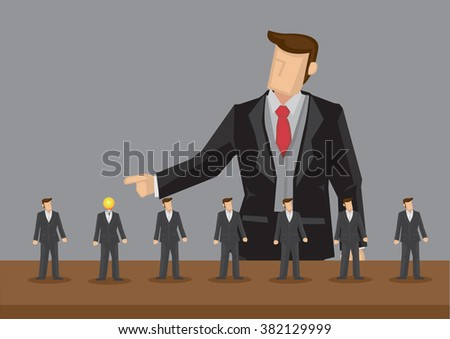 Lineup of homogeneous tiny business professionals and giant businessman pointing at one with light bulb head. Concept of outstanding worker getting recognition, hiring process. - stock vector