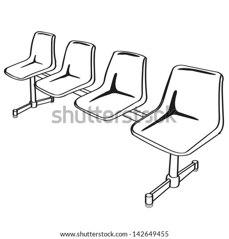 link chairs outline vector  - stock vector